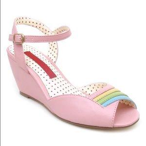 B.A.I.T. Pastel Rainbow Pink Dolly Wedge Heels 8.5